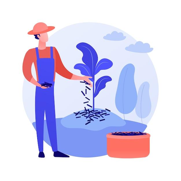 マルチング植物抽象的な概念ベクトルイラスト。土壌被覆、植物保護、雑草防除、水分保持、庭のベッド、木材チップ、景観布、装飾的なマルチの抽象的な比喩。 無料ベクター