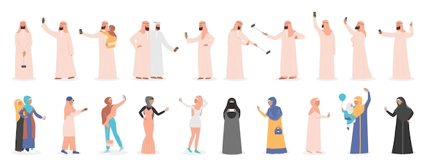 Mulim people taking selfie together set. arabic characters taking photo of themselves with friends and family. Premium Vector