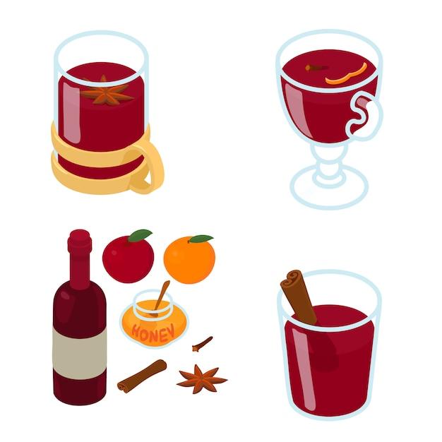 グリューワインのアイコンセット、アイソメ図スタイル Premiumベクター