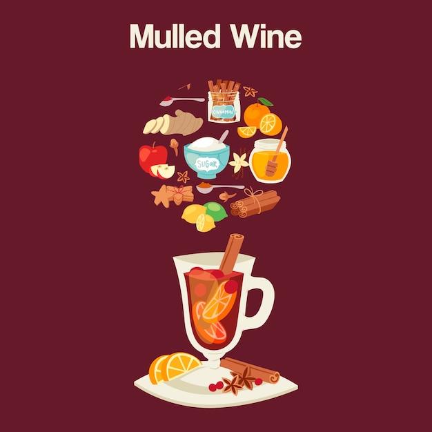Mulled wine ingredients, recipeglass  ingredients. Premium Vector