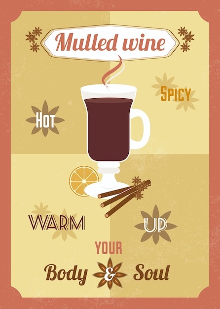 Mulled wine poster design Free Vector