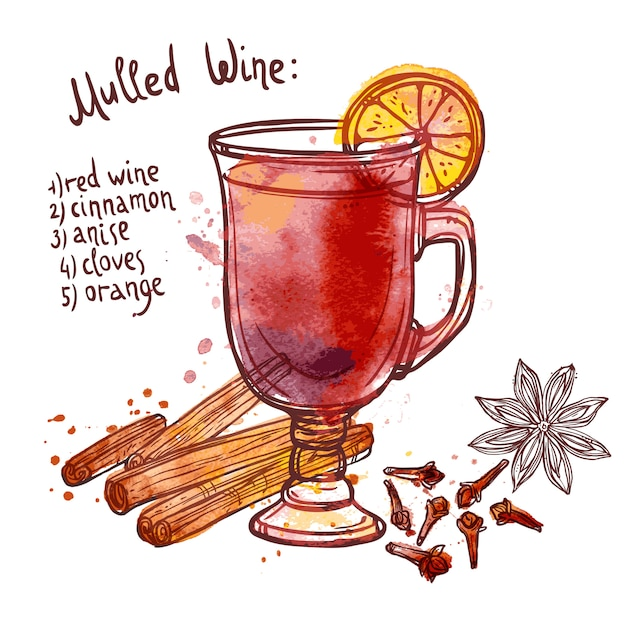 Mulled wine set Free Vector