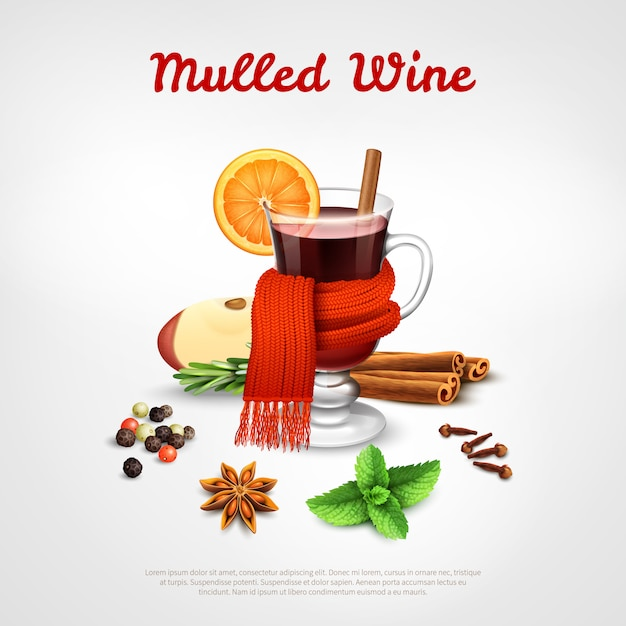 Mulled wine template Free Vector