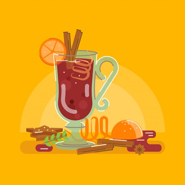 Mulled wine with gingerbread, cinnamon and orange Premium Vector