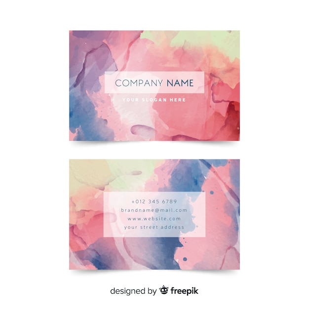 Multi colored business card template Free Vector