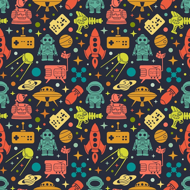 Multi colored objects on the dark background Premium Vector