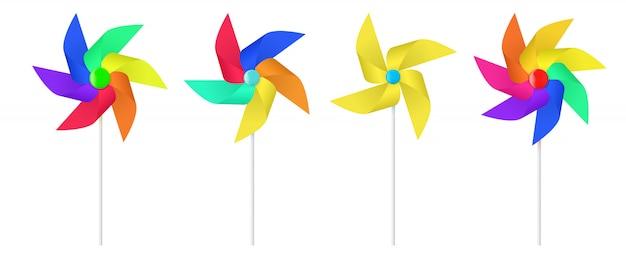 Multi colored toy paper windmill propeller. Premium Vector