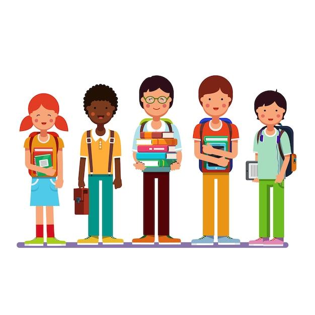 Multi ethnic group of school students kids Free Vector