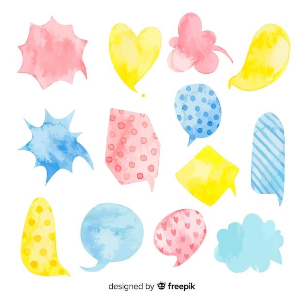 Multi shapes watercolored speech bubbles diversity Free Vector
