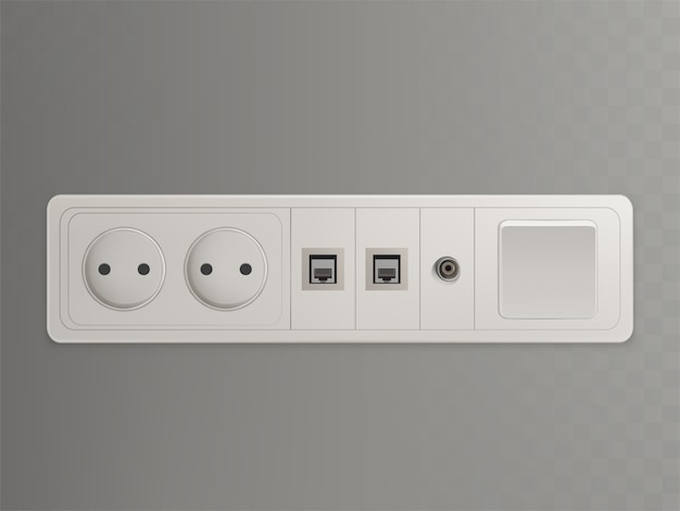 Multi socket wall outlet with electrical, ethernet, cable or satellite tv connections Free Vector