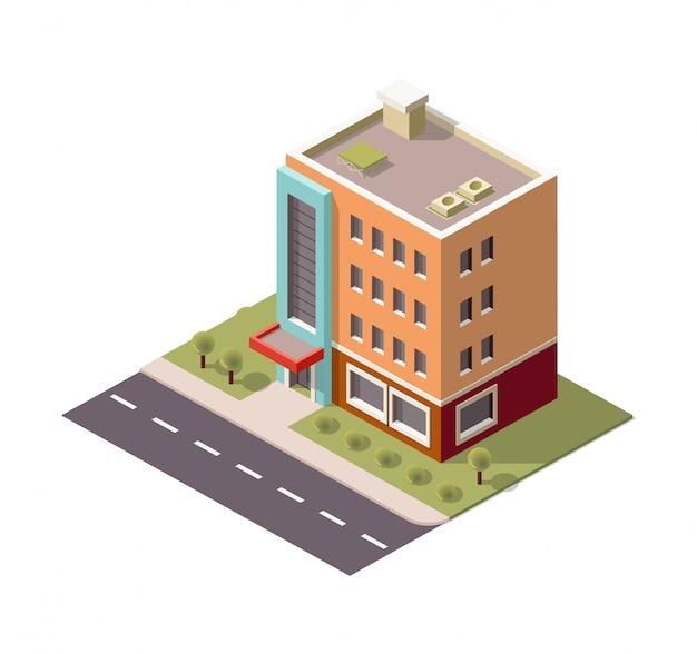 Multi-storey isometric building Premium Vector