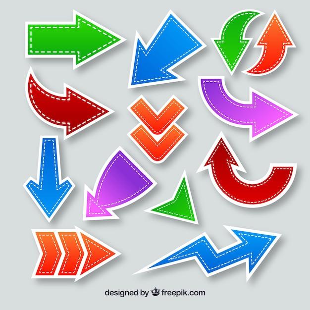 Multicolor arrow collection Free Vector