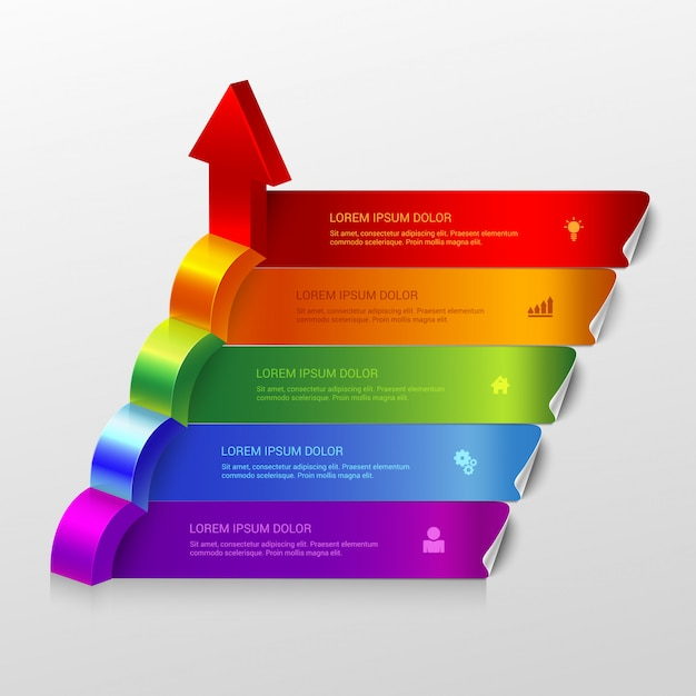 Multicolor arrow grow steps infographics template. Free Vector
