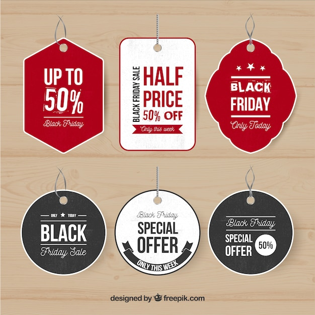 Multicolor black friday labels
