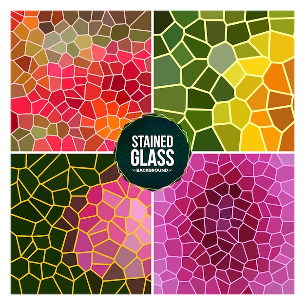 Multicolor broken stained glass background set Premium Vector