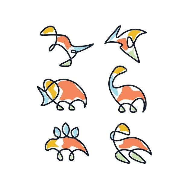 Multicolor dinosaur icon design Free Vector