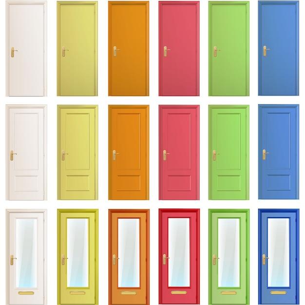Multicolor door collection Free Vector