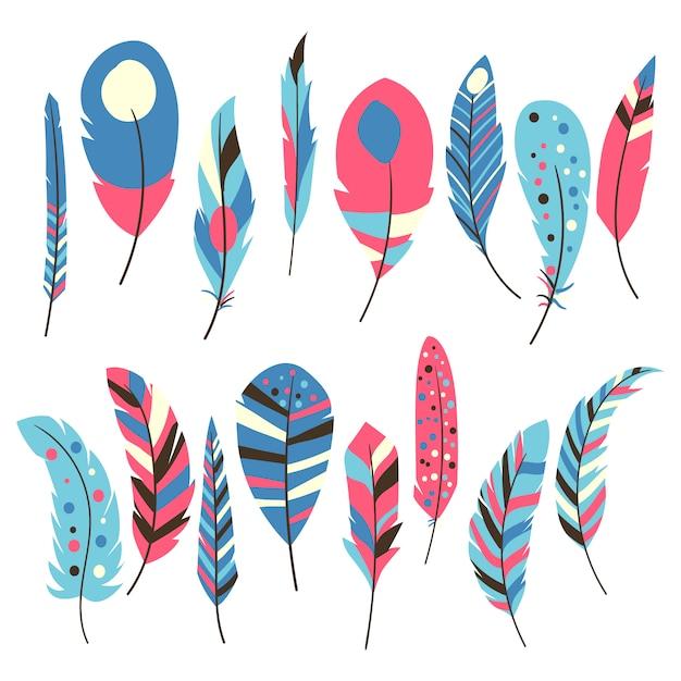Коллекция многоцветных перьев Бесплатные векторы