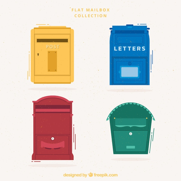 Multicolor flat mailbox collection Free Vector