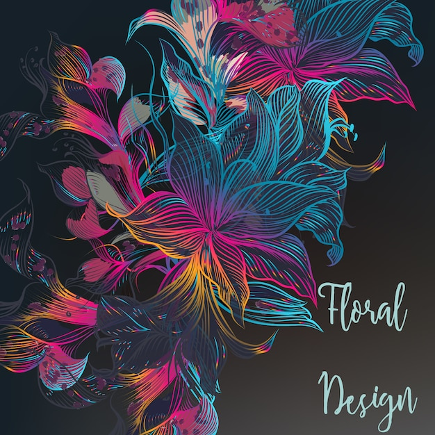 Multicolor floral design Free Vector