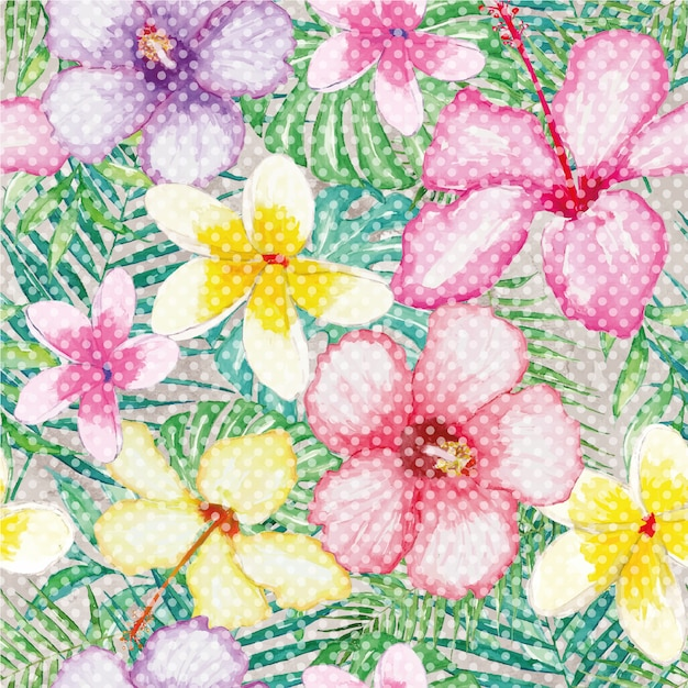 Multicolor flowers background Free Vector