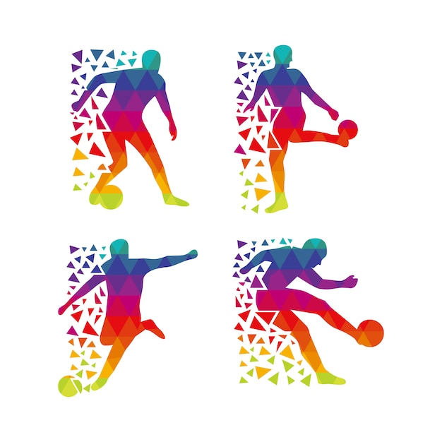 Multicolor footballer silhouette Free Vector