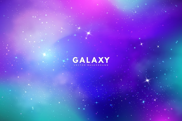 Multicolor galaxy background with stars Free Vector