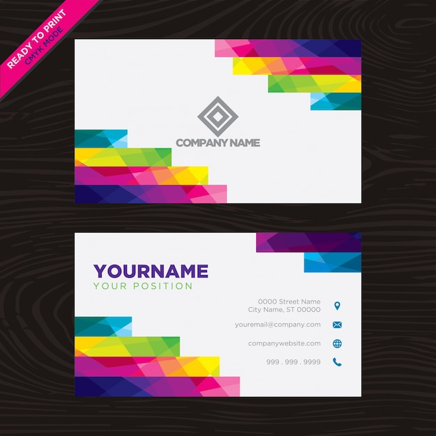 Multicolor geometrical business card Free Vector