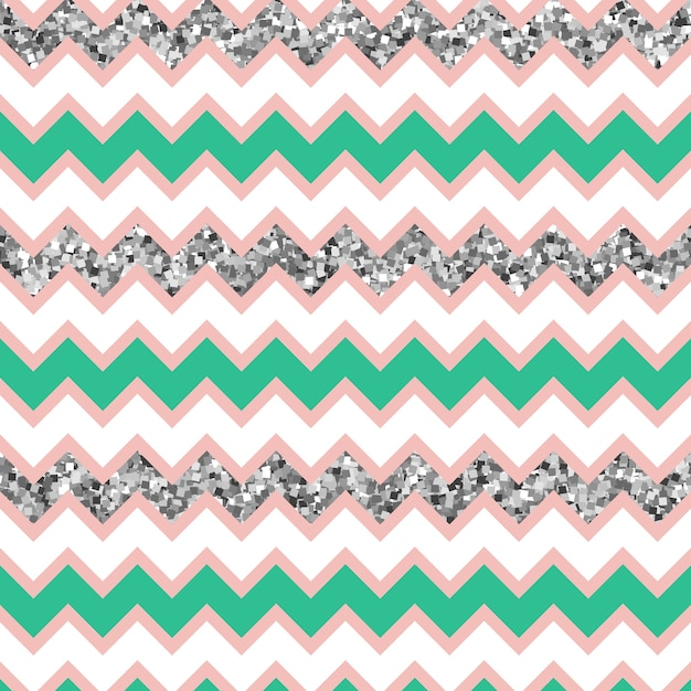 Multicolor glam zigzag pattern with silver glitter effect. Premium Vector