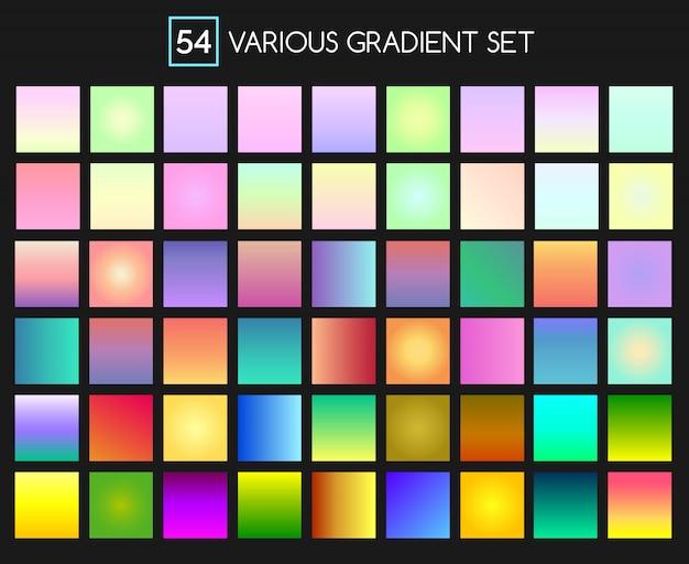 Multicolor gradient effect set for backgrounds Premium Vector