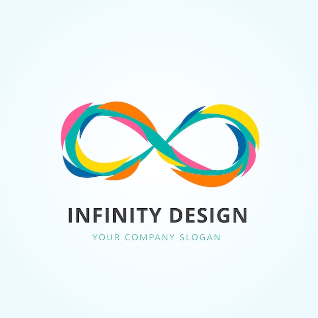 multicolor infinity logo design vector free download