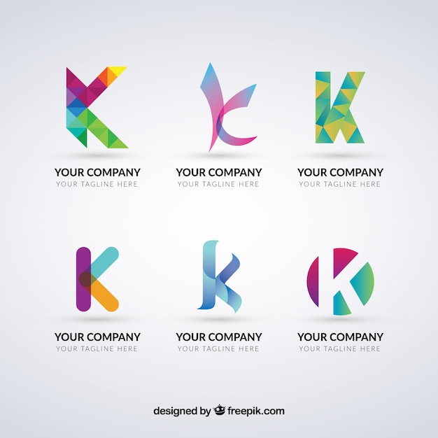 Multicolor Letter K Logo Collection Free Vector