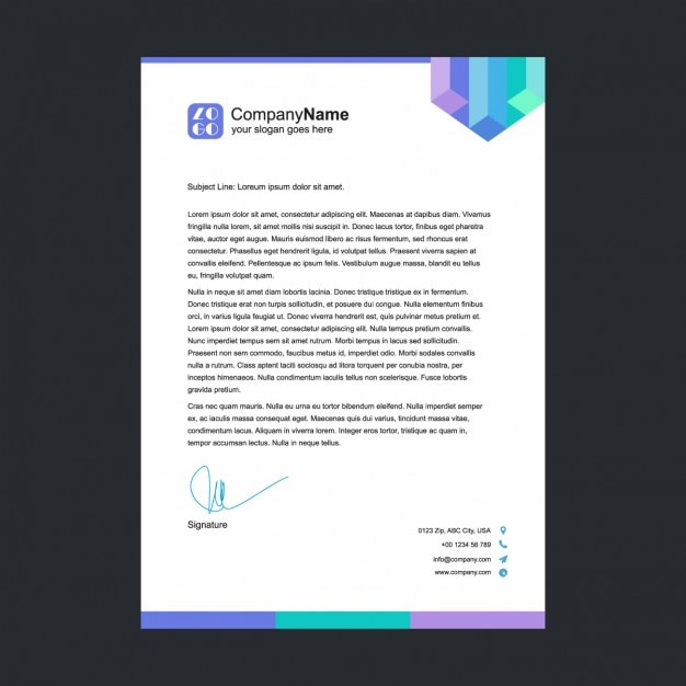 multicolor letterhead template vector