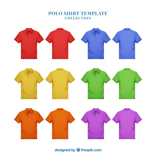 Multicolor man polo shirt collection Free Vector