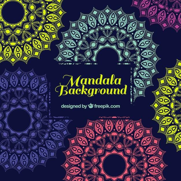 Multicolor mandala background Free Vector