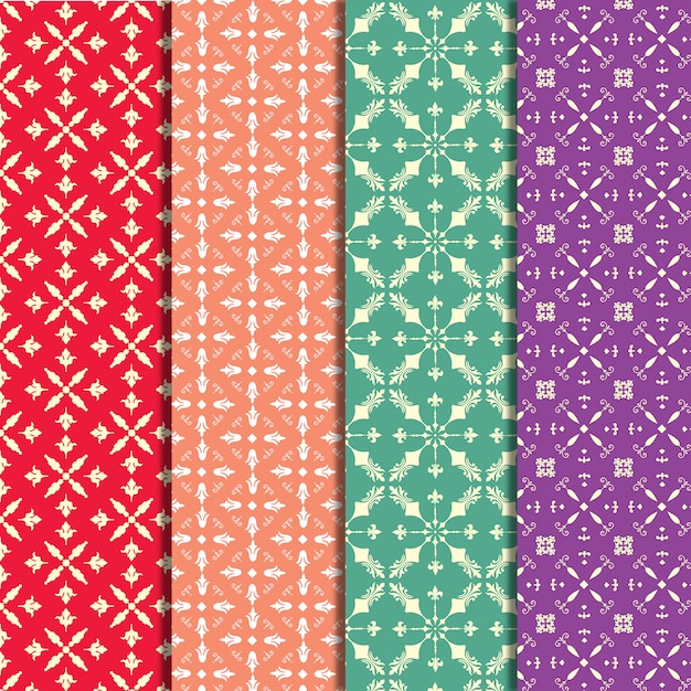 Multicolor pattern background collection Free Vector