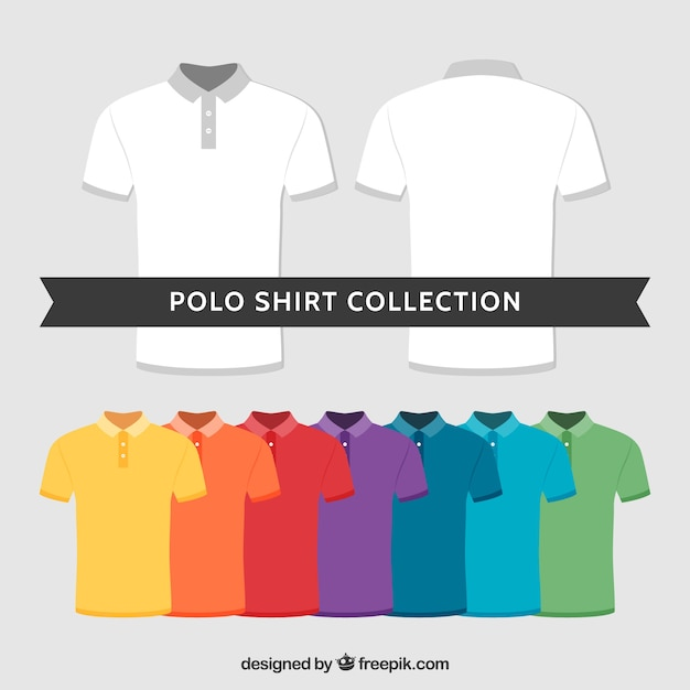 Multicolor polo shirt collection Premium Vector