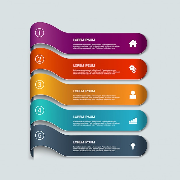 Multicolor ribbon items infographics  template. Free Vector