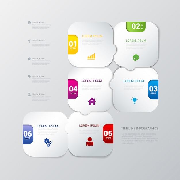 多色の丸みを帯びたステッププロセスインフォグラフィックテンプレート 無料ベクター
