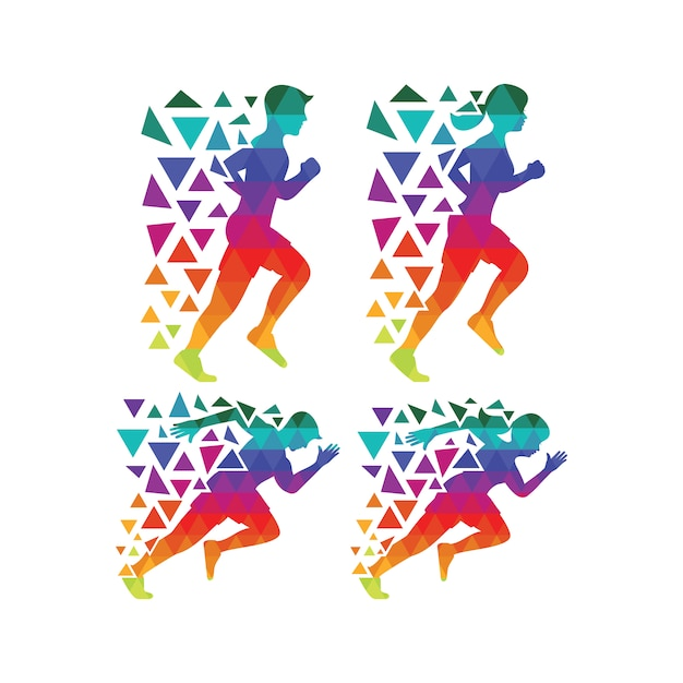 Multicolor running silhouette collection Free Vector