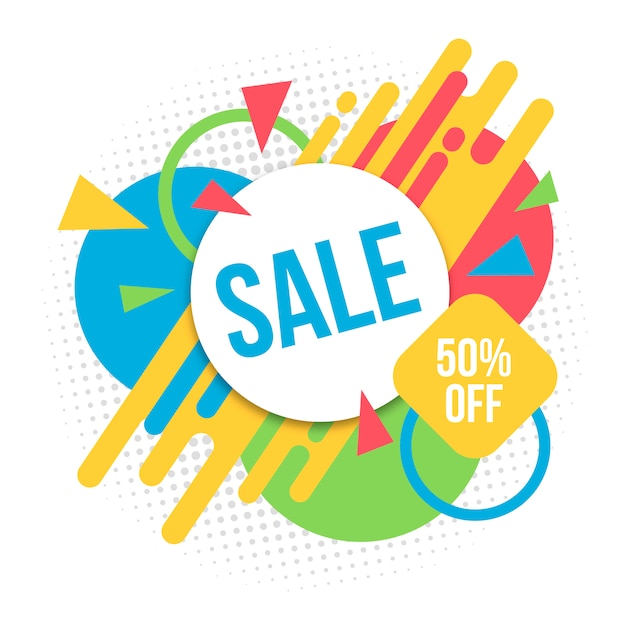 Multicolor sale background Free Vector