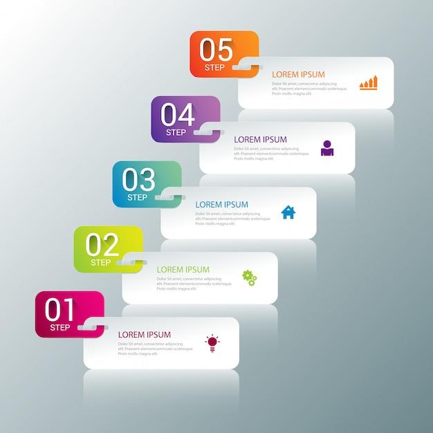 Modello di infografica processo multicolor passi Vettore gratuito