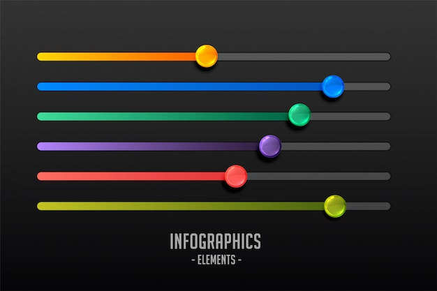 Multicolor steps slider concept infograph Free Vector