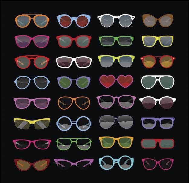 Multicolor sun glasses collection Free Vector