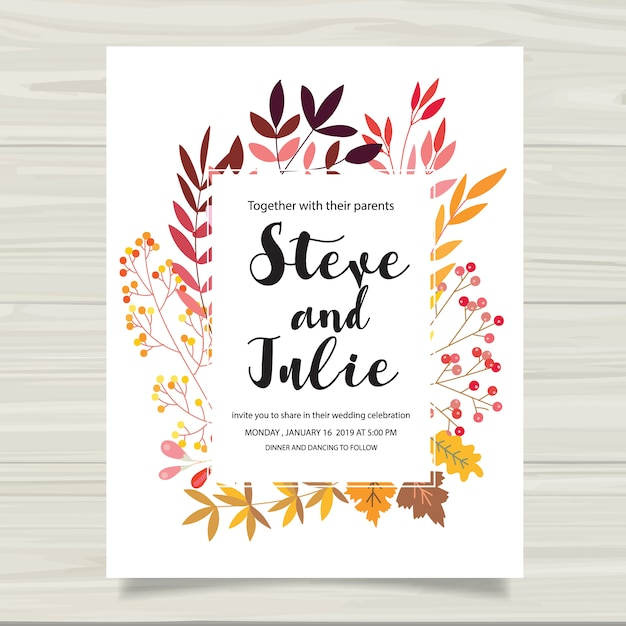 Multicolor wedding card Vector Free Download