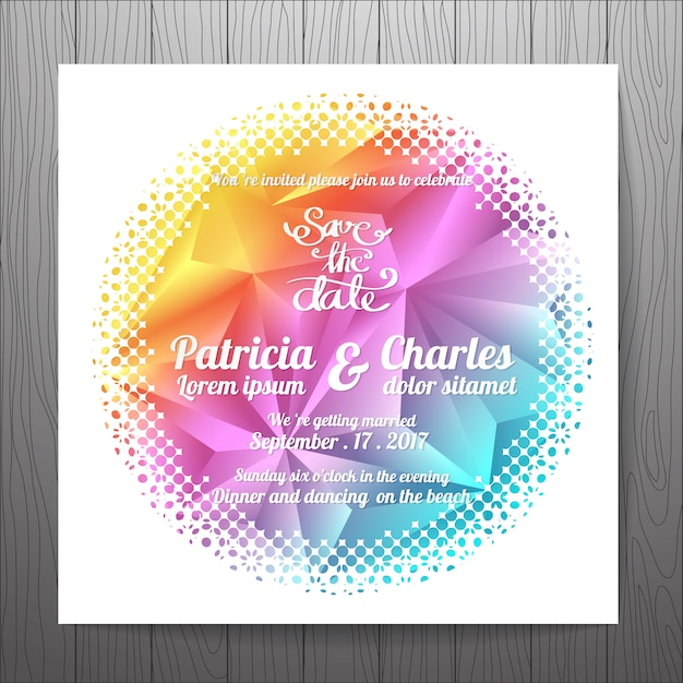 Multicolor wedding invitation with rounded shape vector free download multicolor wedding invitation with rounded shape free vector stopboris Image collections