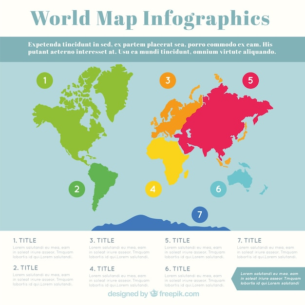 Multicolor world map infographic Free Vector