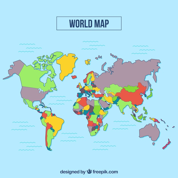 Multicolor world map with blue background vector free download multicolor world map with blue background free vector gumiabroncs Gallery