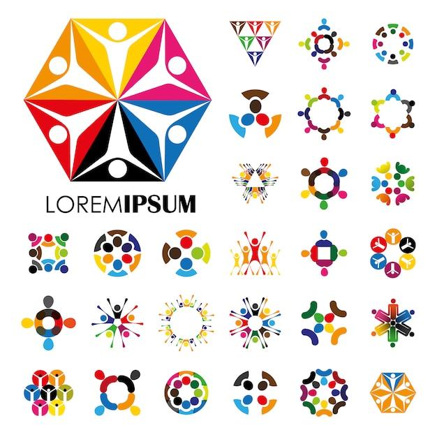 Дизайн логотипа multicolor Бесплатные векторы