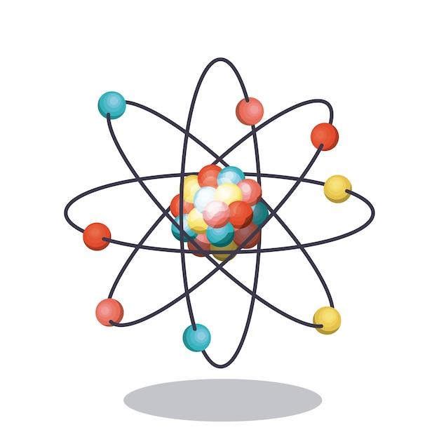 Multicolored atom icon Premium Vector